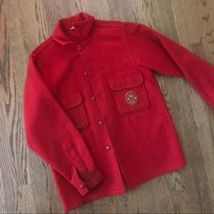Vintage red wool BSA Boy Scout official shirt 40